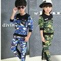 2015 Осень мальчики девочки одежда устанавливает школа дети Камуфляж костюм устанавливает мальчики спортивная одежда толстовка/пальто и брюки наборы для мальчика