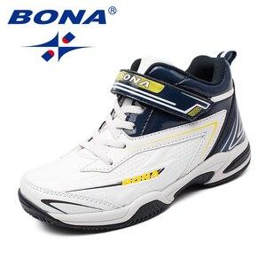 Image 4 - BONA zapatos informales con cordones para niños, zapatillas de suela plana sintética, a la moda para actividades al aire libre, cómodas