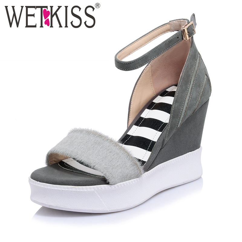 WETKISS Genuine Leather Horsehair Kid Suede Women Sandals Casual High Wedges Platform Ankle Strap Mixed Color Summer Shoes Woman phyanic 2017 gladiator sandals gold silver shoes woman summer platform wedges glitters creepers casual women shoes phy3323