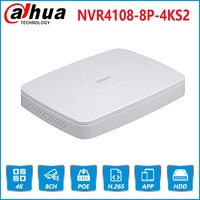 Dahua English Original 4K POE NVR NVR4108 8P 4KS2 With 8ch PoE h.265 Video Recorder Support ONVIF 2.4 SDK CGI with logo