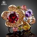 AZORA Gorgeous Flower Gold Plated Multicolour Stellux Austrian Crystal Adjustable Size Ring TR0061