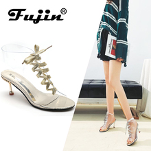 Fujin Brand 2019 Summer PVC Jelly Women Shoes Open Toe High Heels Transparent Perspex Heel Strappy Ankle Boots Female