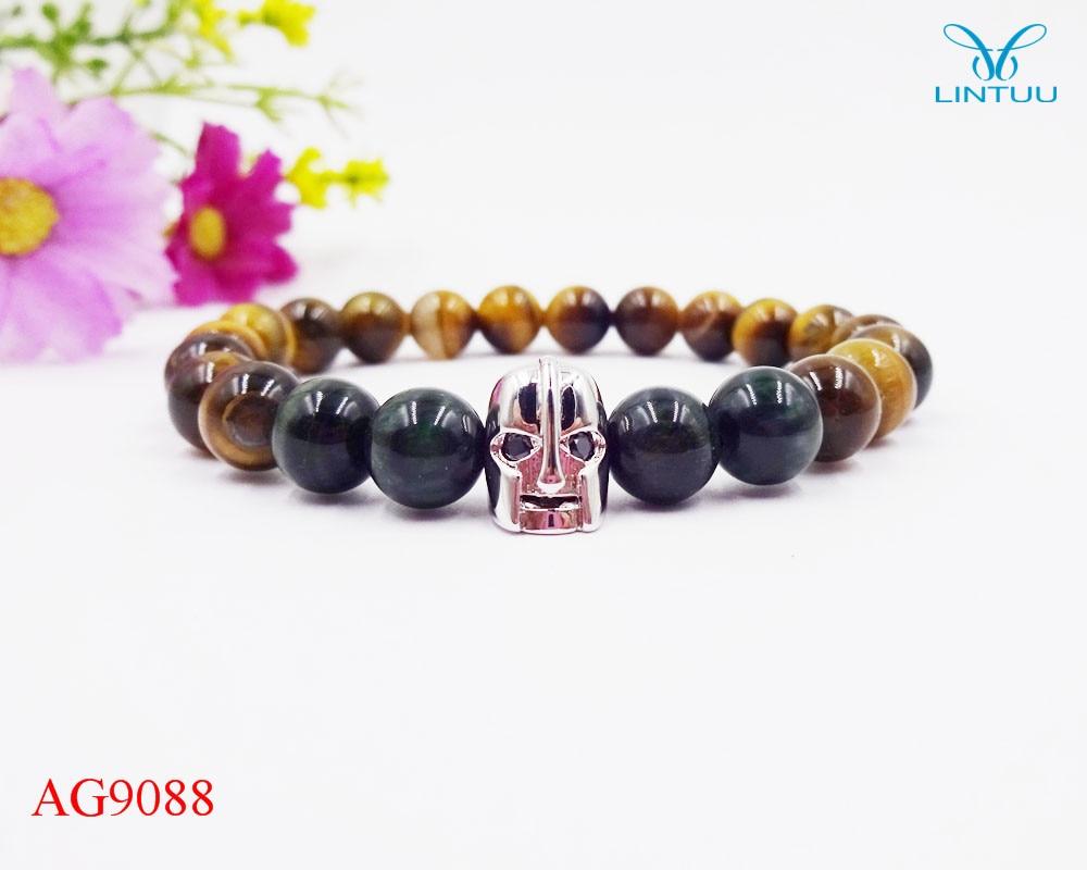 Anil arjandas spartan Buddha Beads Bracelet Charm Elastic Evil Eye Natural Stone green tiger eye carter love Bracelet Men Helmet
