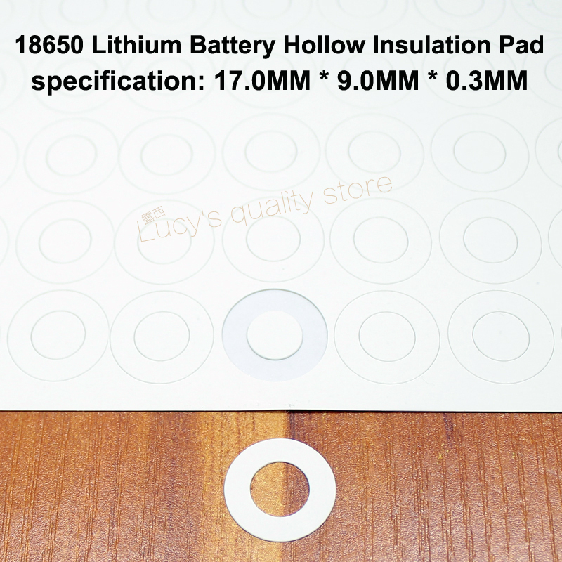 100pcs lot 18650 lithium battery anode insulation pad hollow flat tip insulation surface mat meson 17 9 0 0 3MM in Replacement Parts Accessories from Consumer Electronics