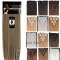 7 unids 1 unids para el envío 100% Real grueso cabeza completa Clip en extensiones de cabello largo recto castaño rubio humana hecha de pelo sintético