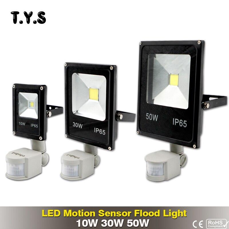 Led Flutlicht Im Freien Scheinwerfer Flutlicht 10 watt 30 watt 50 watt Mit Motion Sensor IP65 Straße Lampe Reflektor Wasserdicht 220 v Beleuchtung