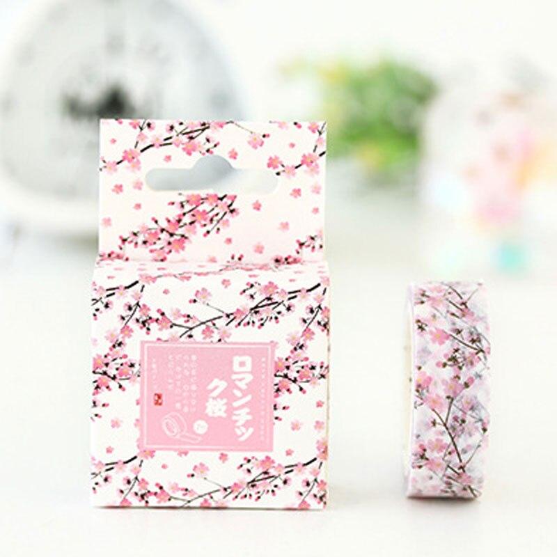 Romantic Sakura  Washi Tape DIY Decorative Scrapbooking Masking Tape Adhesive Label Sticker Tapes School Stationery happy fairytale theatre washi tape adhesive tape diy scrapbooking sticker label masking tape