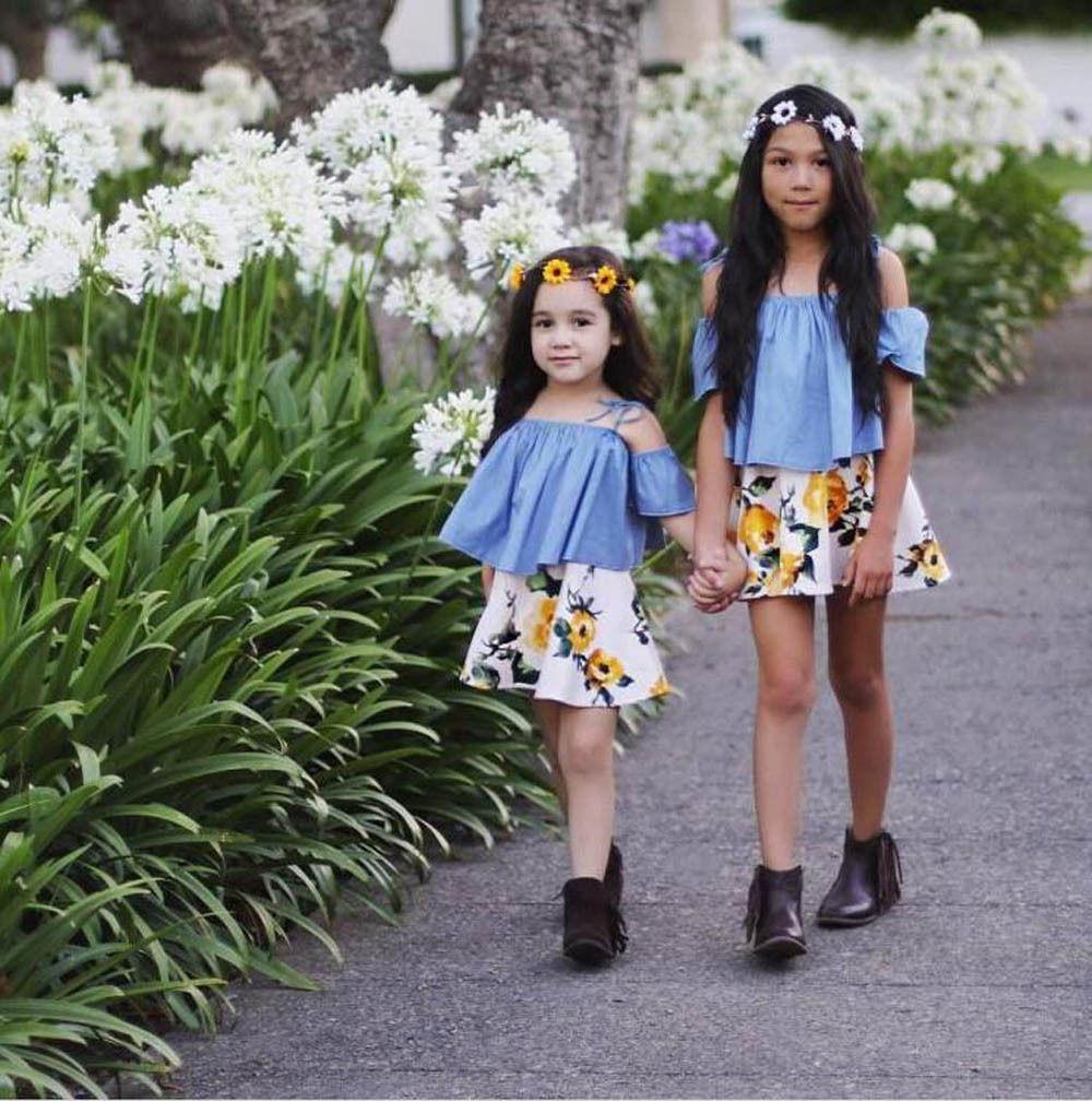 New-Fashion-Children-Girls-Clothes-Off-shoulder-Flare-Sleeve-Denim-T-shirt-TopsFloral-Skirt-2PCS-Outfits-Kids-Clothing-Sundress-2