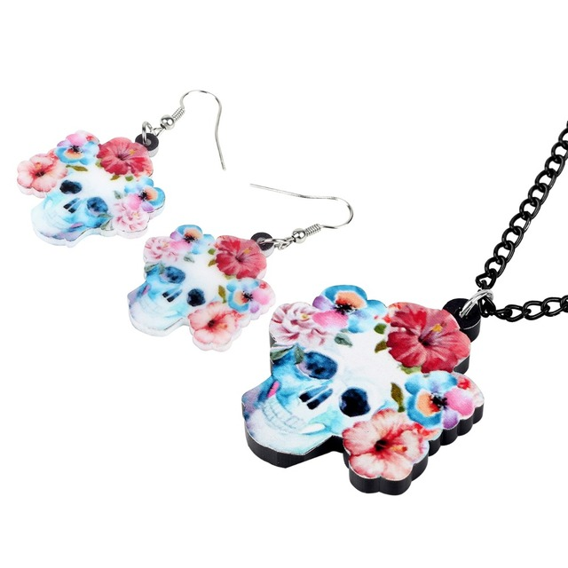 Skull Earrings and Necklace
