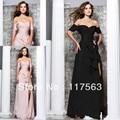 2013 new arrival famoso designer sexy pêssego preto side slit chiffon longo mulheres dançam vestido de noite WL135