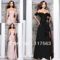 2013 new arrival famous designer sexy peach black side slit chiffon long women dance evening dress WL135