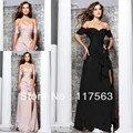 2013 recién llegado de diseñador famoso melocotón sexy abertura lateral negro larga de la gasa mujeres baile vestido de noche WL135