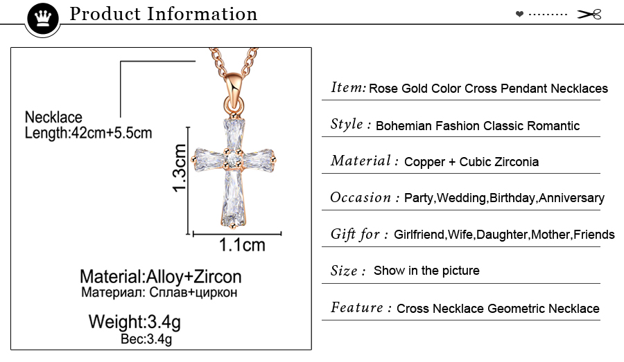 HTB1PXnhCER1BeNjy0Fmq6z0wVXaW - 17KM Rose Gold Color Cross Pendant Necklaces For Woman Crystal Pendant Cubic Zirconia Long Necklace Bijoux Jewelry Wholesale
