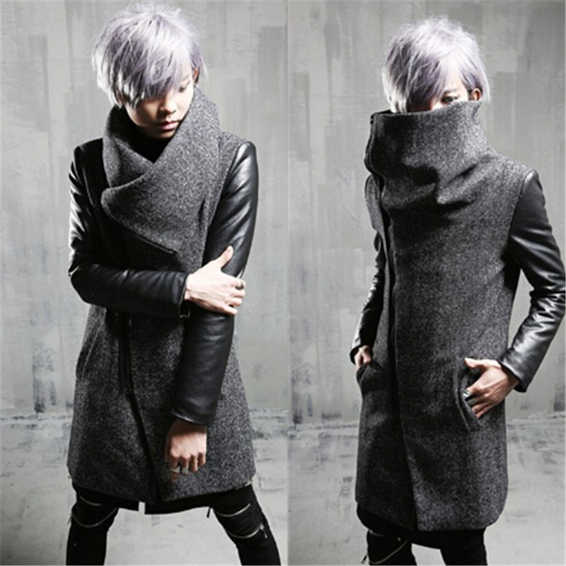 2017 Warm Trench Coat Long Design Punk Style Patchwork Woolen Cotton Windbreaker Mens Outerwear