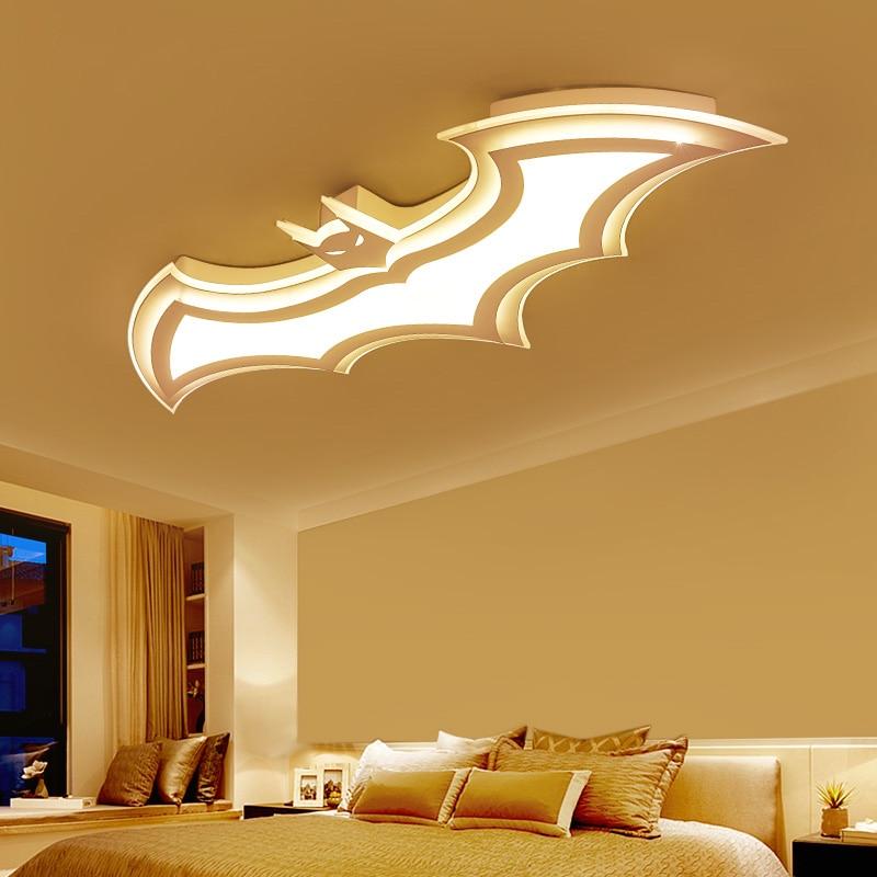 Lámpara de techo de Batman para niños, luces de techo de sala de estar 110V 220 V, luz de techo moderna, led simple con control remoto - 3