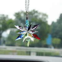 Crystal Large Snowflakes Ornaments Snowflake Clear Crystal Car Pendant Edition Car Rearview Mirror Ornament Interior Accessories