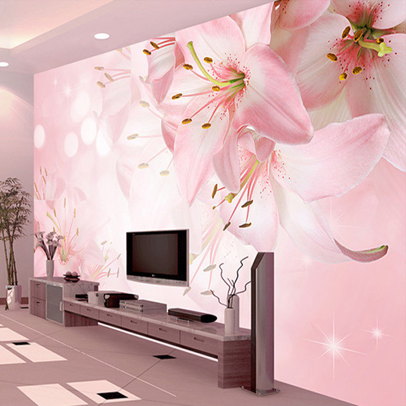 Custom Photo Wallpaper Wall Painting Modern Art Romantic Minimalist Living Room Sofa Flowers Lily Large Mural Wall Paper Rolls
