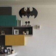 New Batman Modern Creative Acrylic Brief Quartz Mirror Wall Clock Style Home Decor Decoration Living Room Quartz Digital Single
