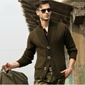 2013 mens military uniform Needle cotton sweater knit cardigan jacket men's casual lapel sweater plus size S-XXL H1859
