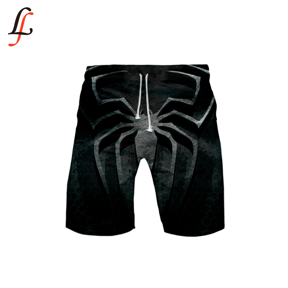 Spider 3D Image Beach Shorts Men Bottoms Anti-UV Shorts Printing Swimming Shorts Summer Draw String Elastic Waist Shorts