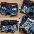 Mais novas Meninas Retro Cintura Baixa Ripped Flange Buraco Wash Branca Jean Denim Shorts