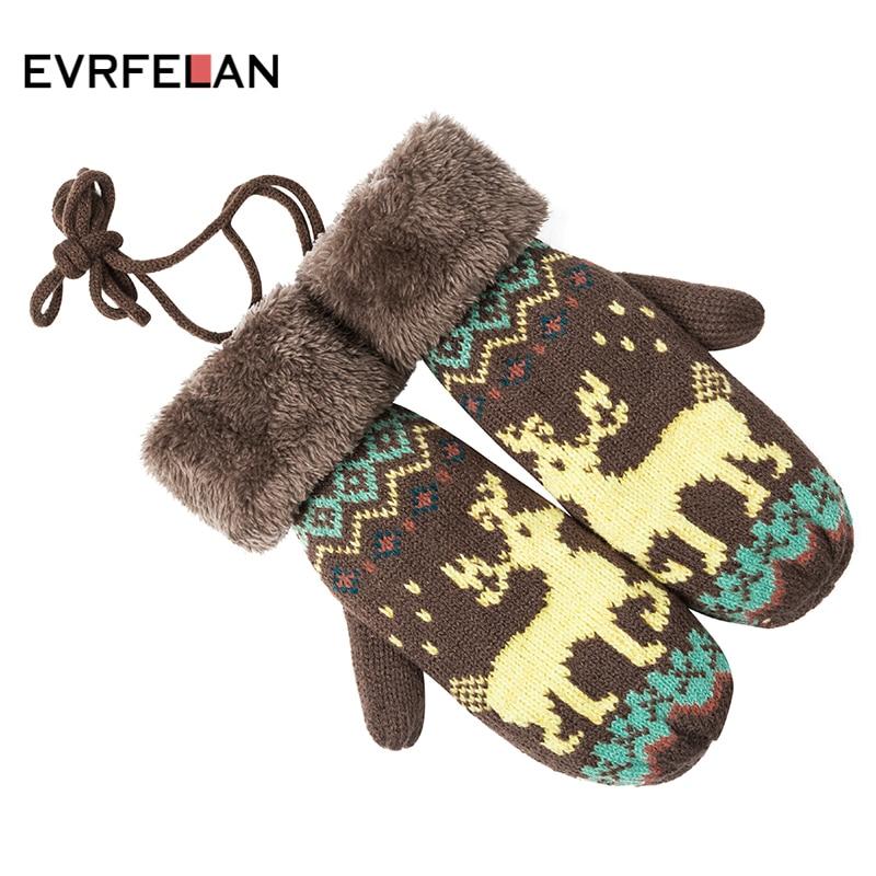 Evrfelan New Arrival Winter Warm Thick Gloves Women Knitted Gloves Mittens Girls Elk Knitted Gloves Outdoor Mittens Keep Warm