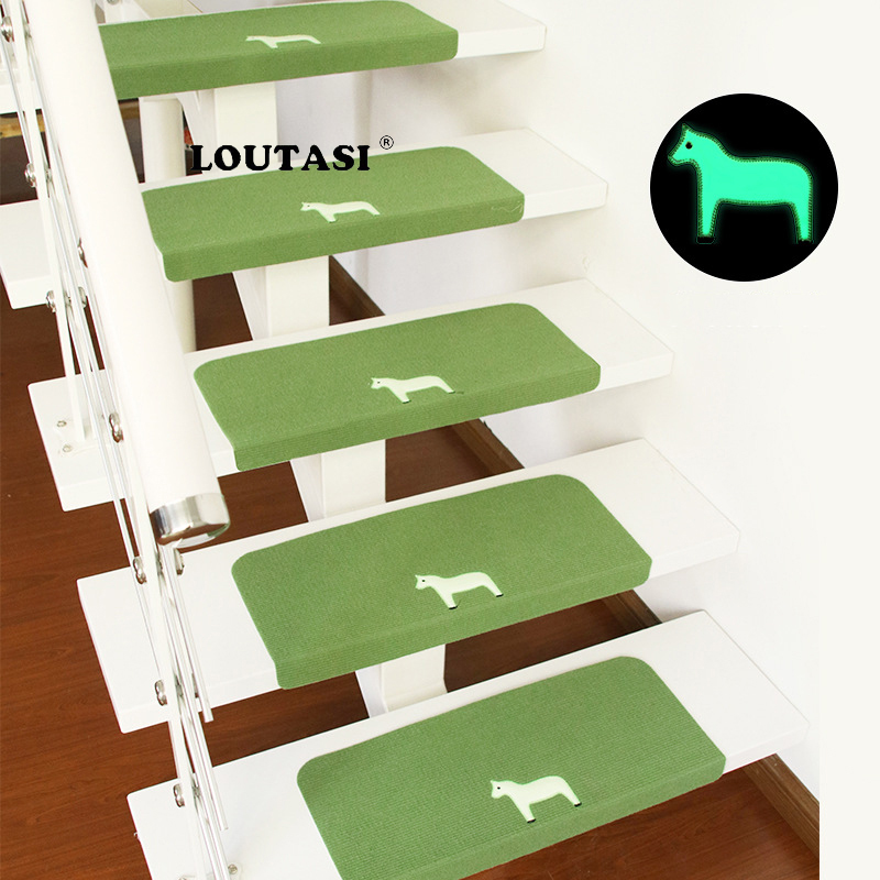 LOUTASI 5pcs/lot Staircase Mat Non Slip Floor Staircase Stairs Carpet Pad  Luminous Horse Pattern Stair Treads Protector Mats