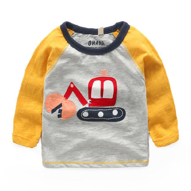 Crianças do bebê T-shirt de manga comprida de algodão primavera e no outono meninos