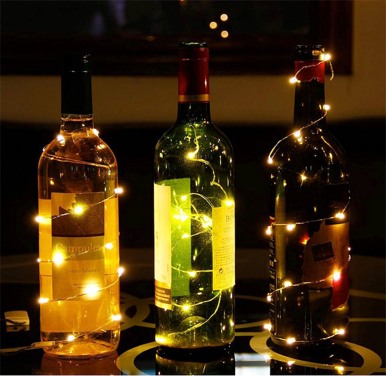 6.5FT 20LED Wine Bottle Cork Lights Copper Wire Fairy String Lights DIY Night Light For Home Christmas Halloween Wedding Decor