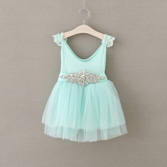 Sommer princess tutu kleid kinder sky blue parteikleider mit diamant ...