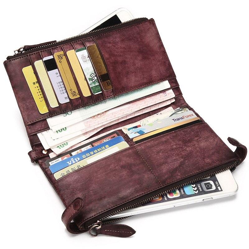 ФОТО Women's Genuine Leather Bifold Wallet Card Case Clutch Wallets Wristlet Handbag Purse