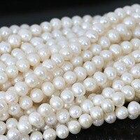European Hot Sale White Natural Cultured Freshwater Pearl Beads Elegant Fashion Fashion Jewelry Making 15inch B1337