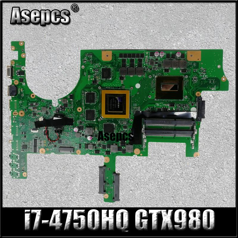 AsepcsROG <font><b>G751JY</b></font> Laptop <font><b>motherboard</b></font> For Asus <font><b>G751JY</b></font> G751JT G751JL G751J G751Tested original mainboard I7-4750HQ SR18J GTX980-4GB image