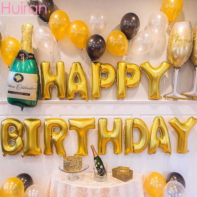 Huiran Happy Birthday Balloons 18th 21st 30th 40th 50th 60th Number Balloon Party Decorations Adult Ballons Accessories