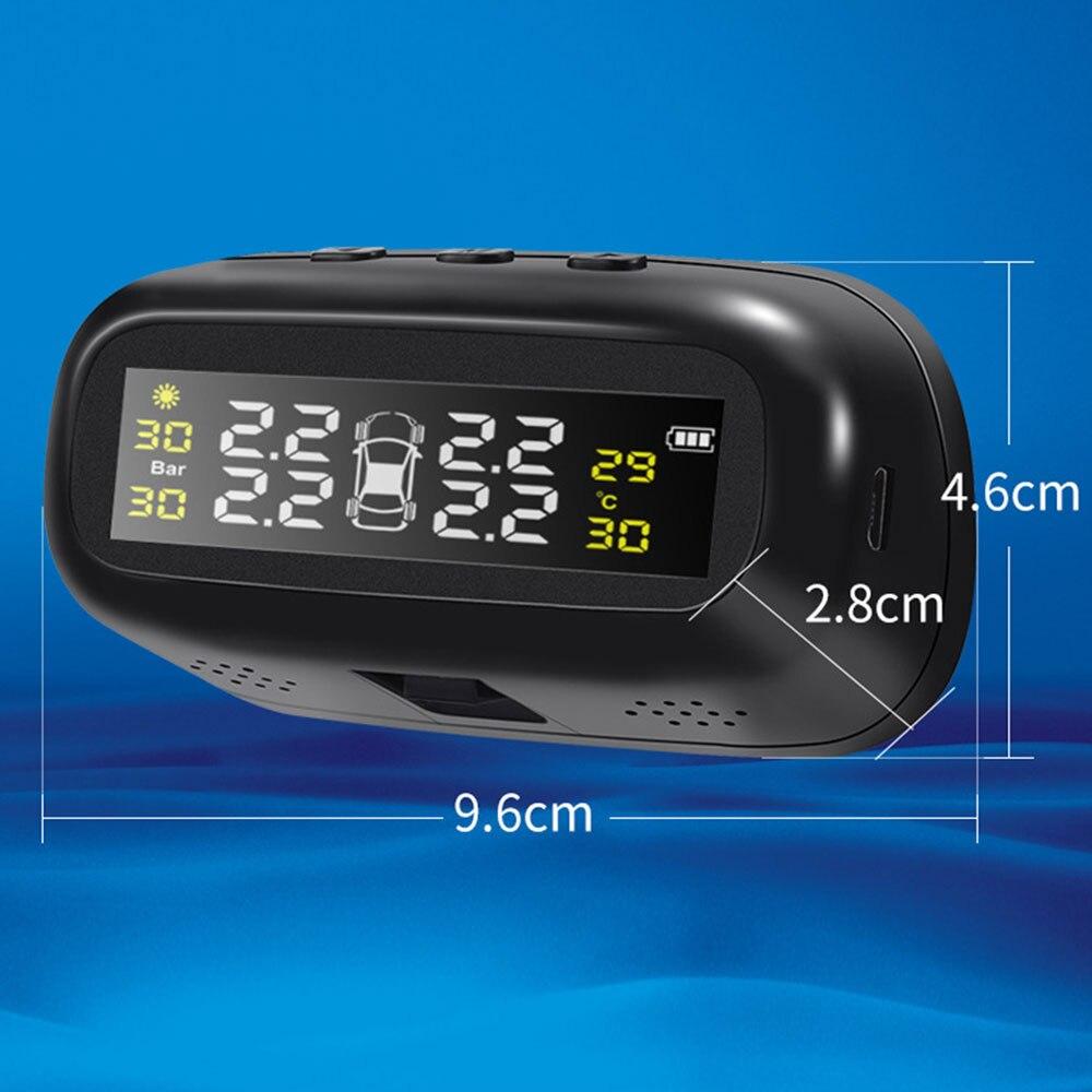 Système de surveillance de la pression des pneus solaire Tmps PC jauge intelligente moniteur capteur ABS noir affichage alarme Automobile - 3