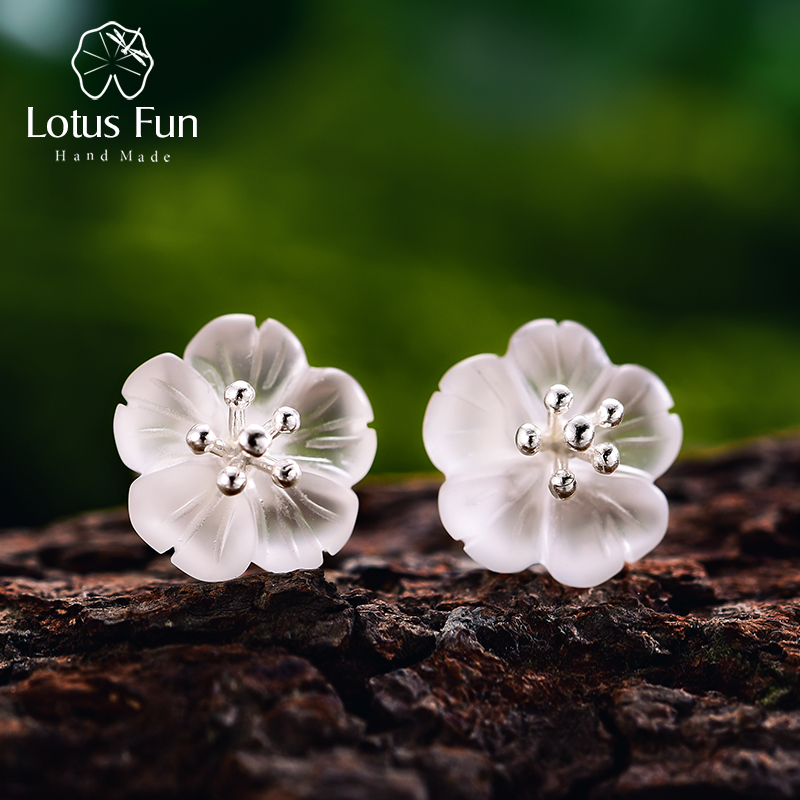 Lotus Fun Real 925 Sterling Silver Natural Crystal Handmade Fine Jewelry Flower in the Rain Stud Earrings for Women Brincos lotus fun real 925 sterling silver handmade fine jewelry natural crystal lily of the valley flower brooches for women brincos