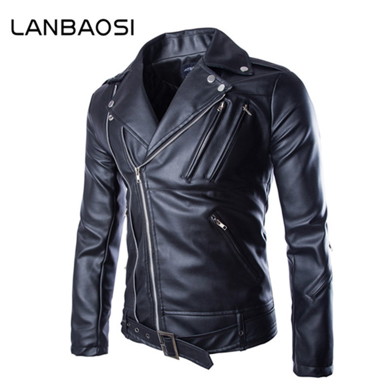 2017 Spring New Fashion Men s Motorcycle Coat Turn down Collar Slim Casual Male Leather font
