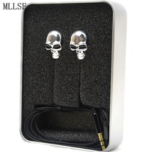 MLLSE Halloween Metal Skull In-ear Earphone 3.5mm Bass Stereo Earbud Noise Cancelling Game Headset for Iphone Samsung MP3 PC PSP(China)