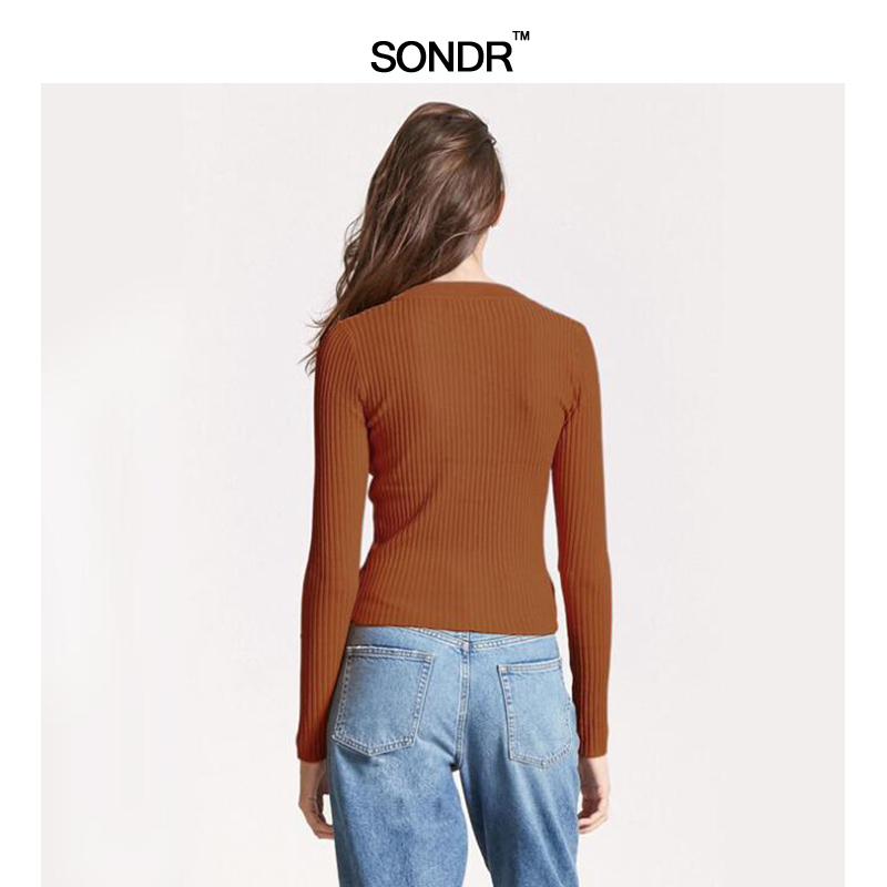 Sondr 2019 Summer Long Sleeve Leisure Elastic V-Neck Knit Female New Sexy Slimming Thin Bottom Shirt Cotton Top Fashion New