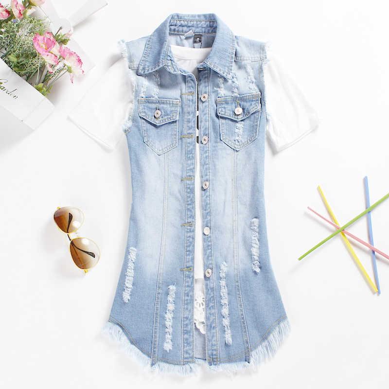 Новое поступление 2019 года, Летняя короткая куртка, элегантный универсальный безрукавный джинсовый жилет с воротником под горло, женские топы, бесплатная доставка