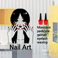Free Shipping Nail Art Vinyl Wall Decal Sexy Girl Nail Mural Wall Sticker Nail Shop Salon