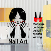 Free Shipping Nail Salon Art Vinyl Wall Decal Sexy Girl Nail Mural Wall Sticker Nail Shop Window Glass Sticker Decoration