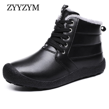 ZYYZYM Mens Winter Snow Boots Lace Up Style Pu Leather Waterproof Outdoors Men Plush Keep Warm Plus Size