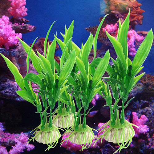 Hot 10 Pcs Plastic Lucky Bamboo Shape Plants Water Grass For