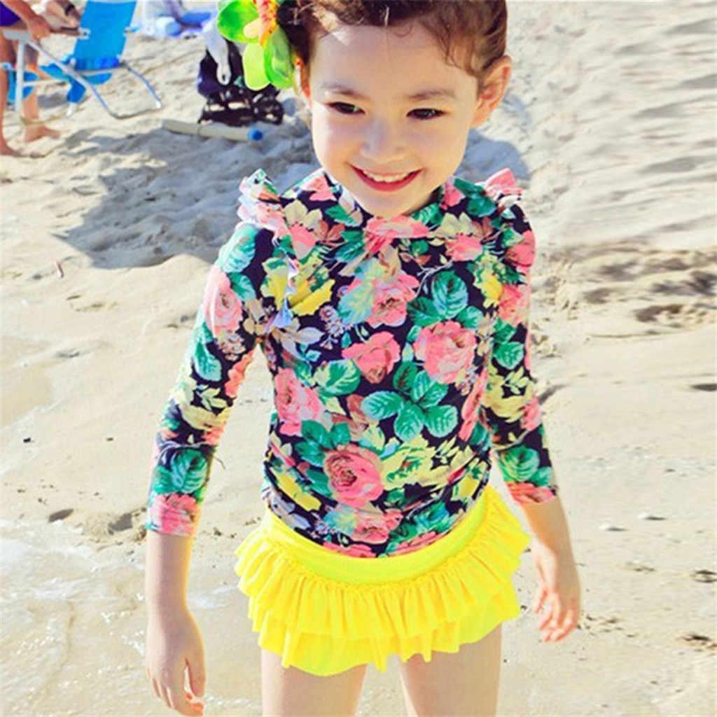 Baju Renang Musim Panas Anak Gadis Pakaian Renang Skirt Bunga Split Swimsuit Lengan Panjang Baju Renang Pakaian Pakaian Set Pakaian One-Piece