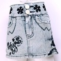 Vintage wash white Jean cloth Denim Wrap Skirt 5-8Y Girls shinny Button Embroidery Pencil tight Slip fitted body LL2508
