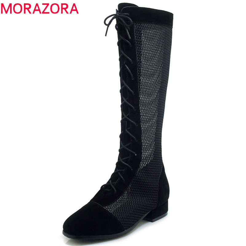 MORAZORA 2019 new arrival flock knee high boots women round toe lace up boots hollow out summer shoes woman fashion bootsMORAZORA 2019 new arrival flock knee high boots women round toe lace up boots hollow out summer shoes woman fashion boots
