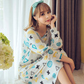 Free Shipping 2017 New spring&Autumn Women's Long cartoon Pijamas Home Cloth Nightshirt women causal Sleepwear Cotton Nightgown