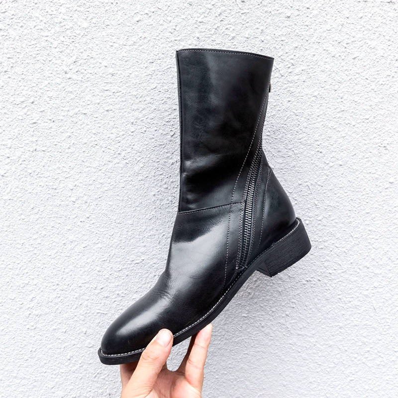 Women ankle boots Shoes Genuine Leather Vintage Zip Ladies Motorcycle Boots felt boots Female Snow Boot Short Fur 2018 Winter in Ankle Boots from Shoes