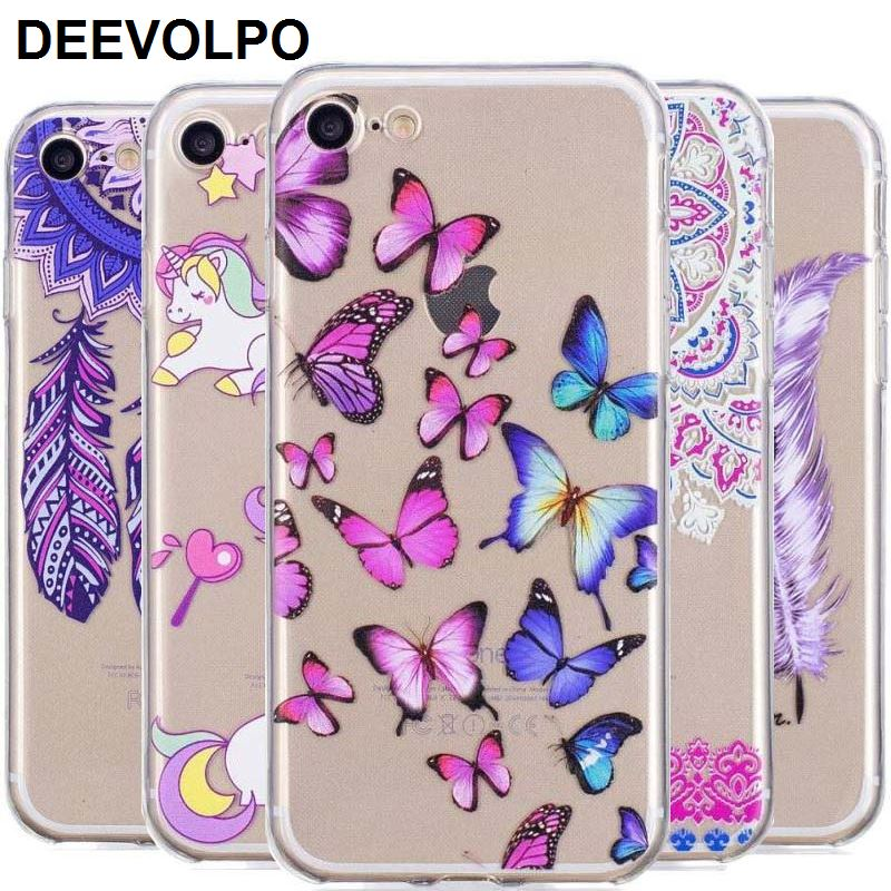 DEEVOLPO Back Case For Fundas iPhone X 8 7 6 6S Plus 5 5S SE 7Plus ipod 6 Coque Unicorn Flamingo Soft Silicone Phone Cover D21G